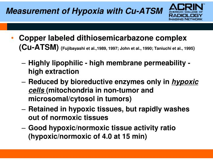 Measurement of hypoxia with cu atsm