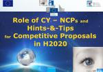 role of cy ncp s and hints tips for competitive proposals in h2020