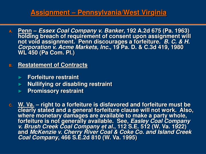 Assignment – Pennsylvania/West Virginia