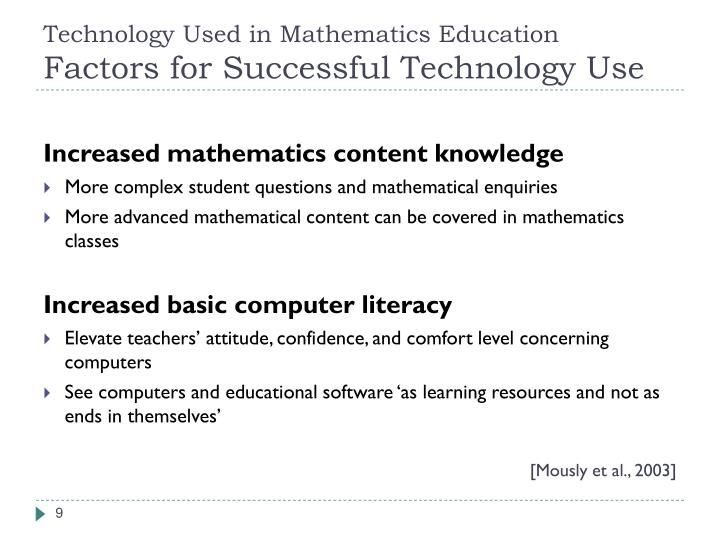 Technology Used in Mathematics Education