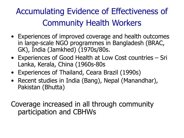 Accumulating Evidence of Effectiveness of Community Health Workers