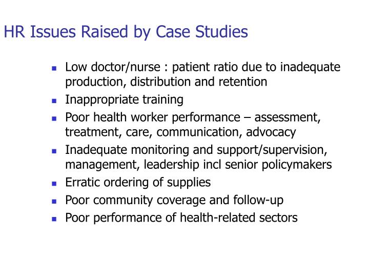 HR Issues Raised by Case Studies