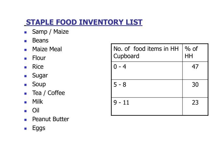 STAPLE FOOD INVENTORY LIST