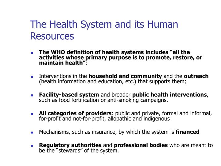 The health system and its human resources