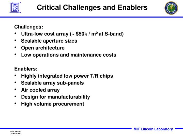 Critical Challenges and Enablers