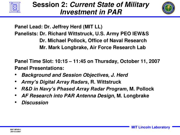Session 2 current state of military investment in par