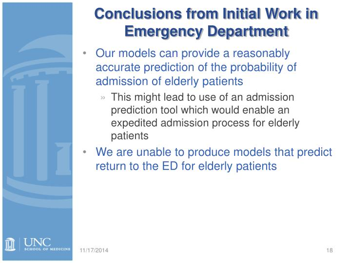 Conclusions from Initial Work in Emergency Department