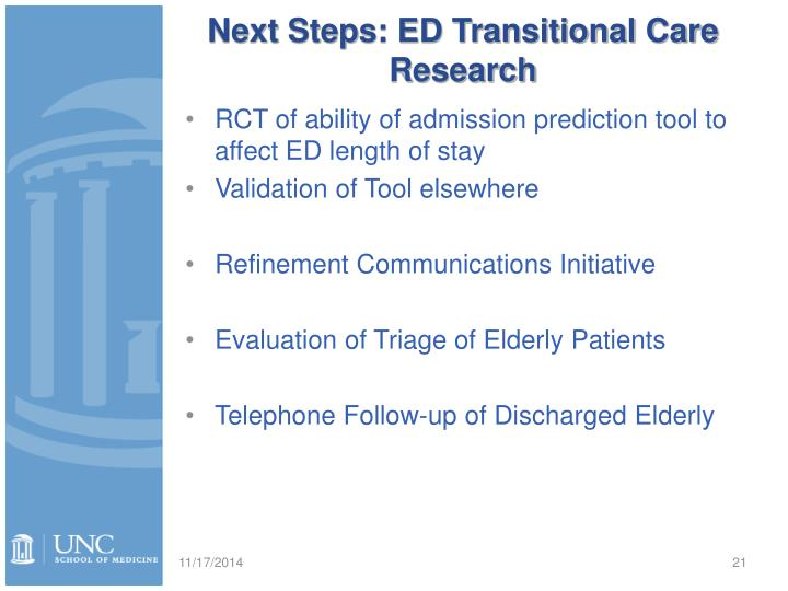Next Steps: ED Transitional Care Research