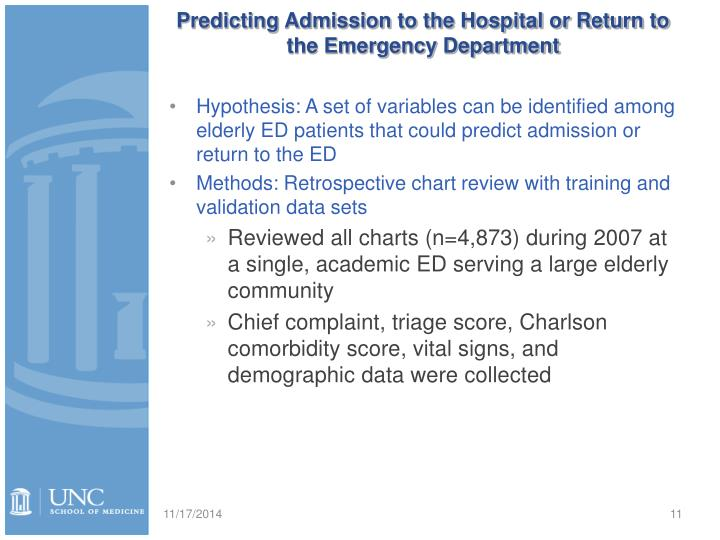 Predicting Admission to the Hospital or Return to the Emergency Department