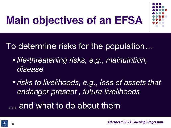 Main objectives of an EFSA