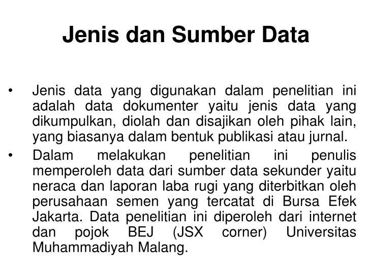 Jenis dan Sumber Data