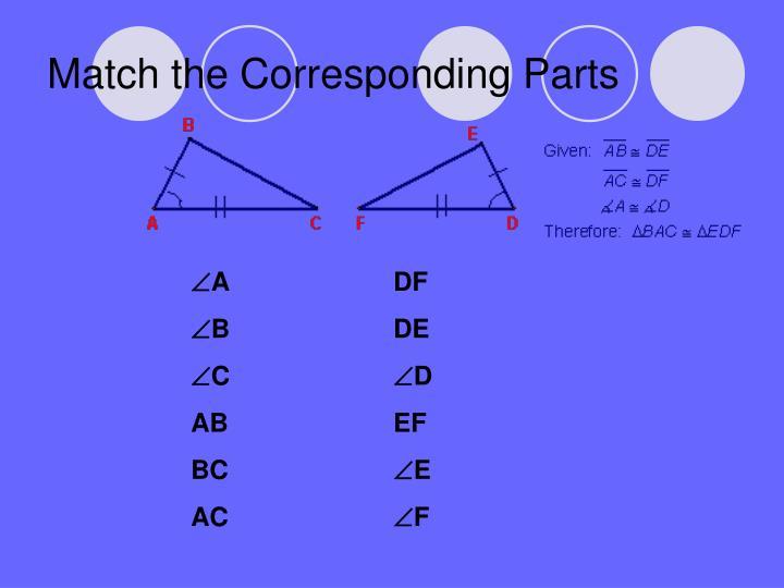 Match the corresponding parts