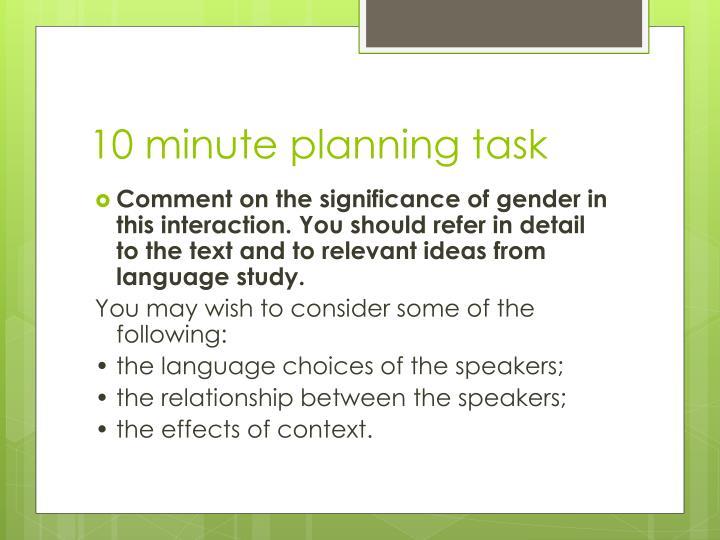 10 minute planning task