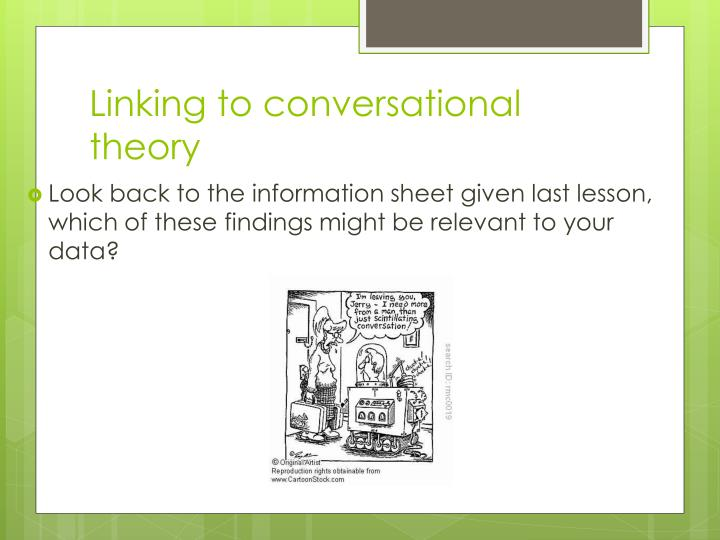 Look back to the information sheet given last lesson, which of these findings might be relevant to your data?