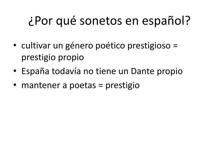 ¿Por qué sonetos en español?