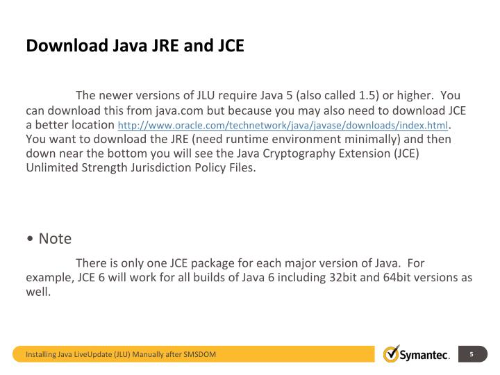 Download Java JRE and JCE