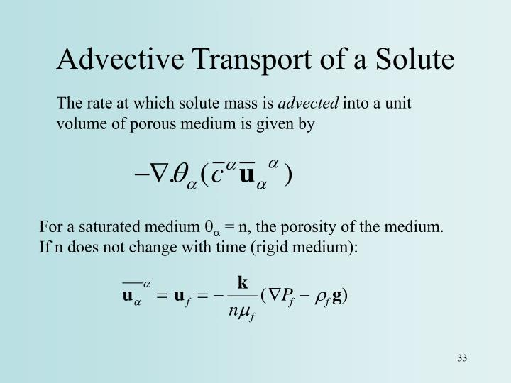 Advective Transport of a Solute
