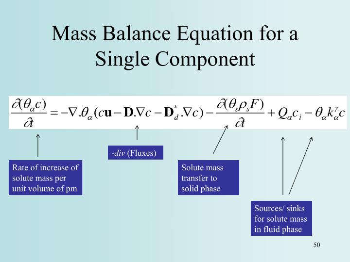 Mass Balance Equation for a Single Component