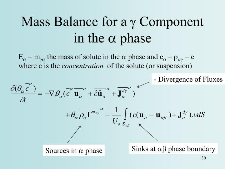 Mass Balance for a