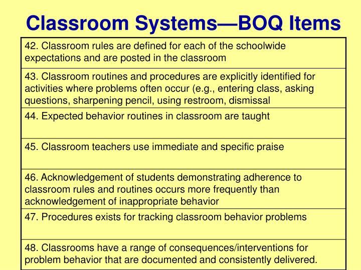 Classroom Systems—BOQ Items