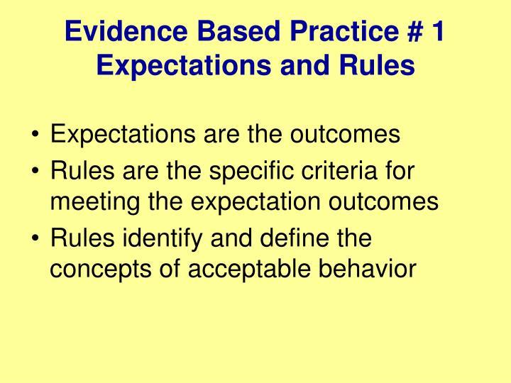 Evidence Based Practice # 1