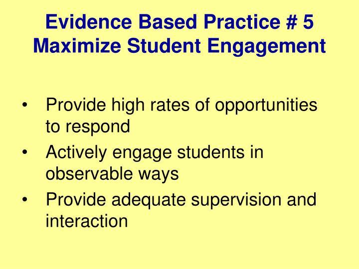 Evidence Based Practice # 5