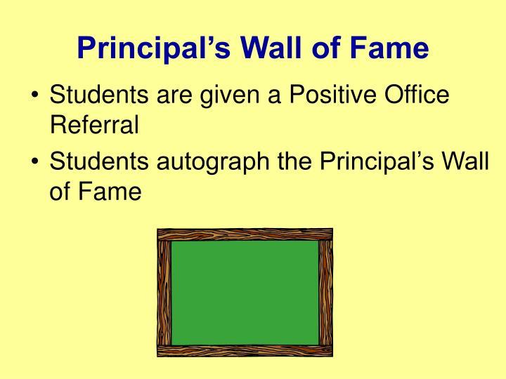 Principal's Wall of Fame