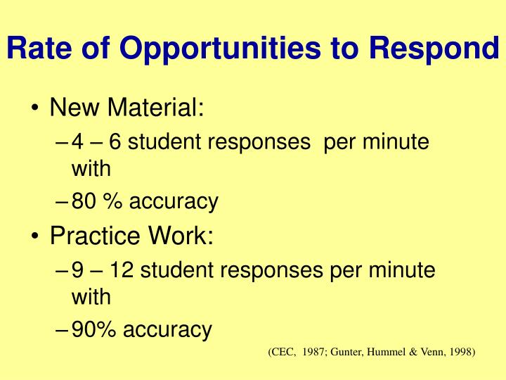Rate of Opportunities to Respond
