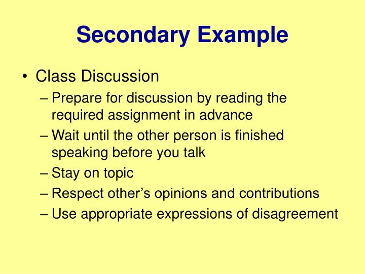 Secondary Example