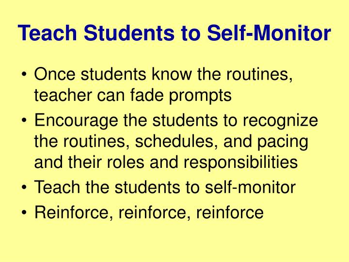 Teach Students to Self-Monitor