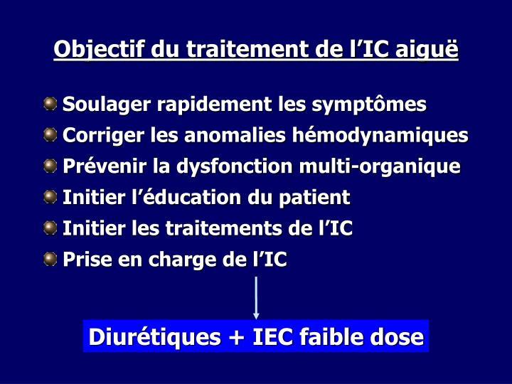 Diurétiques + IEC faible dose