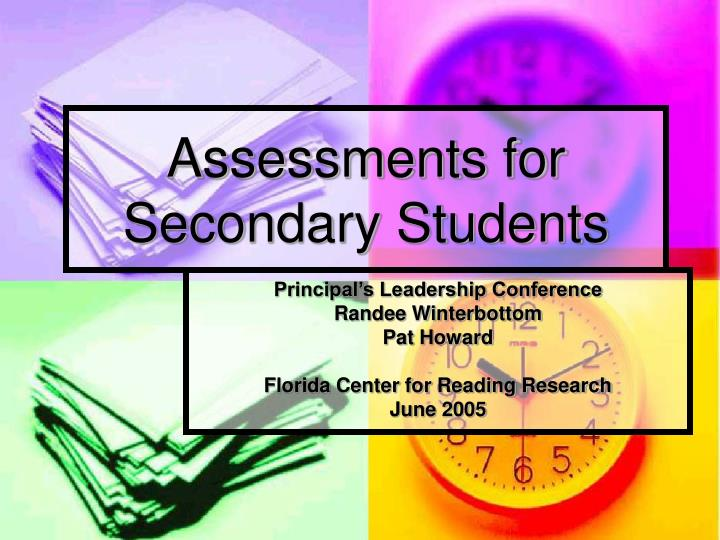 assessments for secondary students n.