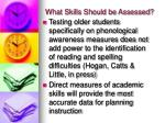 what skills should be assessed