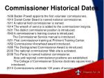 commissioner historical dates