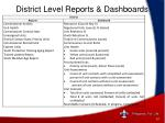 district level reports dashboards