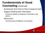 fundamentals of good counseling continued
