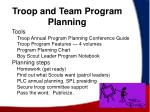 troop and team program planning