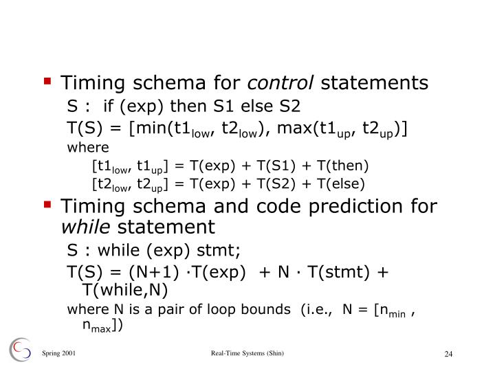 Timing schema for