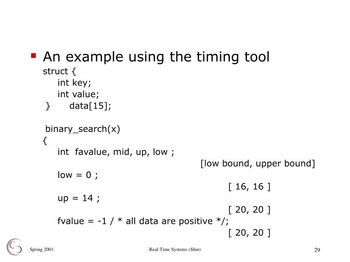 An example using the timing tool