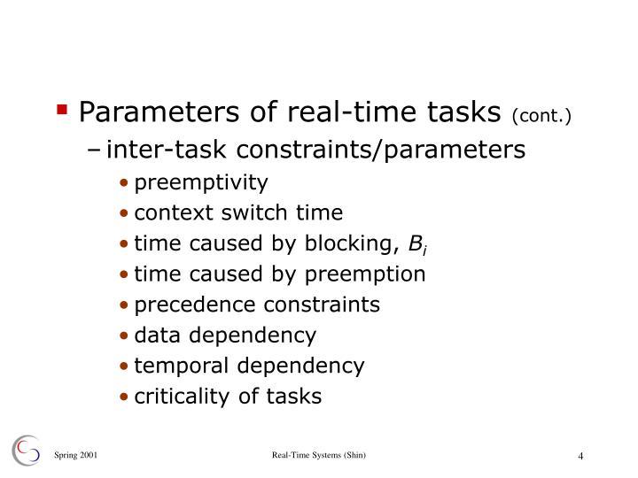 Parameters of real-time tasks