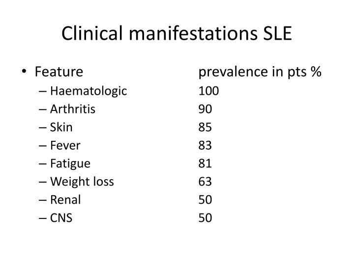 Clinical manifestations SLE