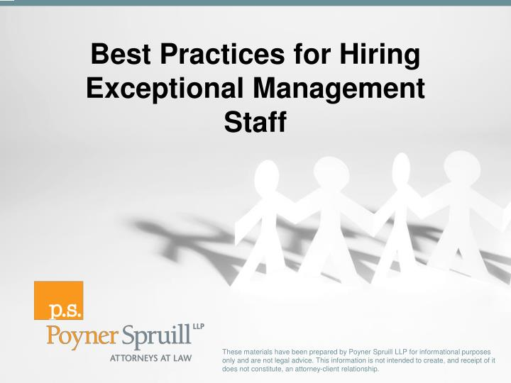best practices for hiring exceptional management staff n.
