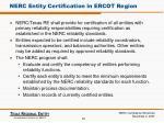 nerc entity certification in ercot region