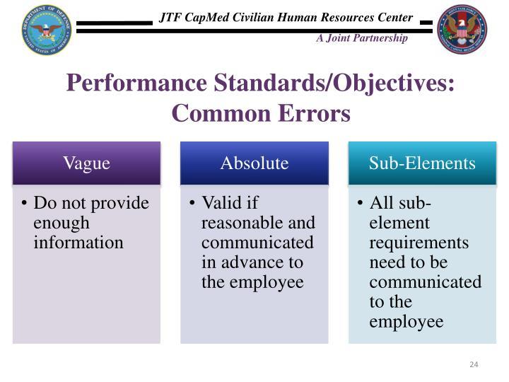 Performance Standards/Objectives: