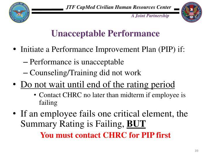 Unacceptable Performance