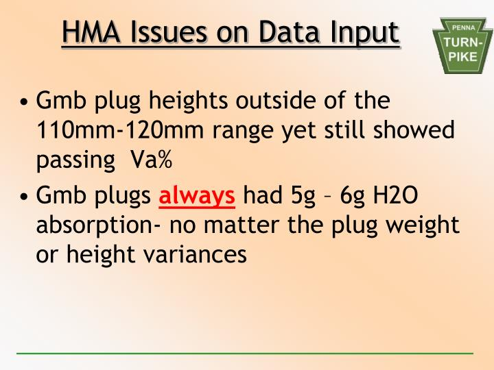 HMA Issues on Data Input