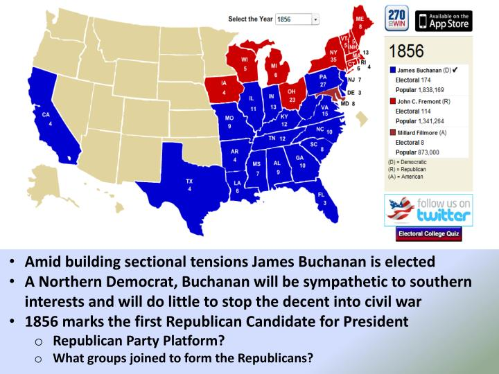 Amid building sectional tensions James Buchanan is elected