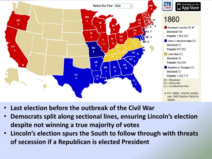 Last election before the outbreak of the Civil War