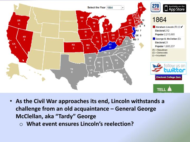 "As the Civil War approaches its end, Lincoln withstands a challenge from an old acquaintance – General George McClellan, aka ""Tardy"" George"
