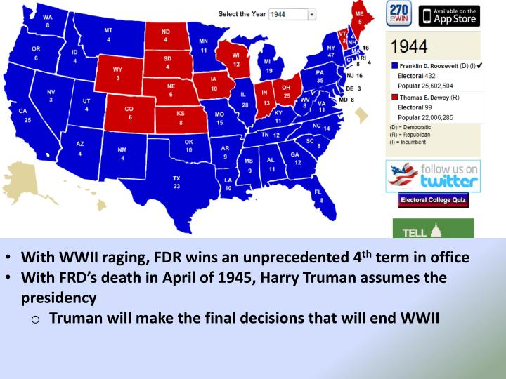 With WWII raging, FDR wins an unprecedented 4